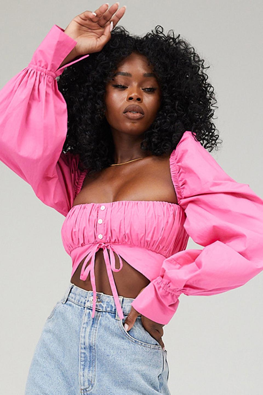 Ruse Pink Balloon Sleeve Crop Top