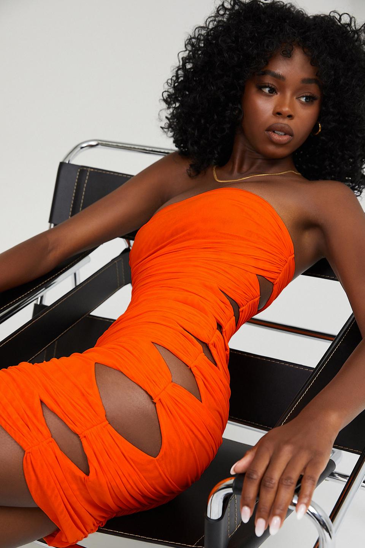 Sitting Pretty Orange Mesh Cutout Mini Dress
