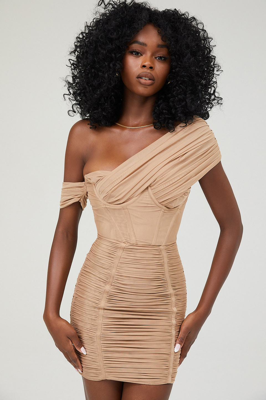 Sweetness Camel Mesh Off Shoulder Corset Dress