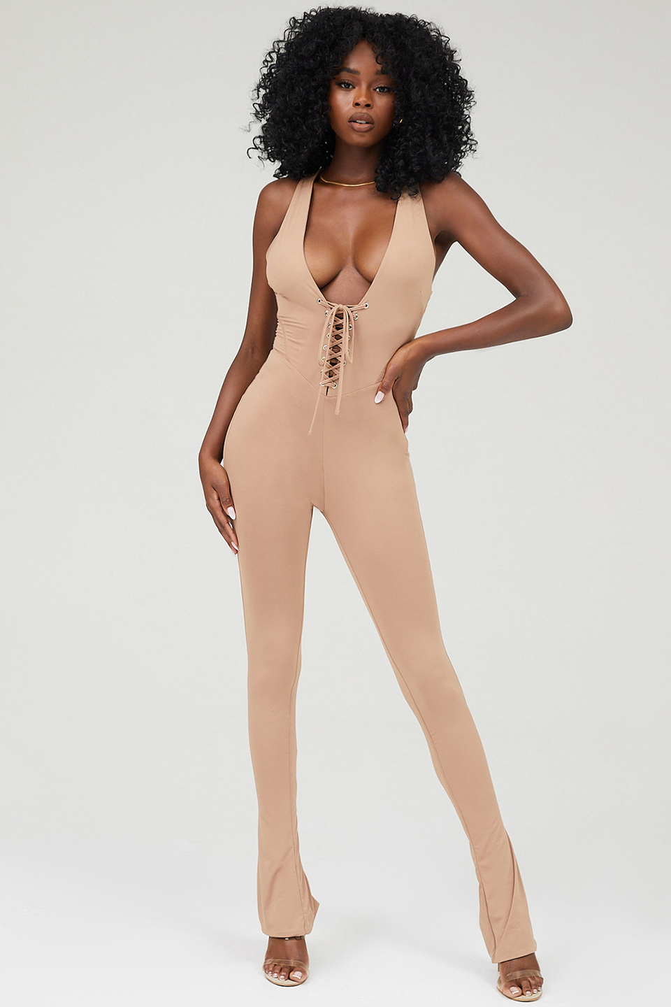 Urban Taupe Jersey Lace Up Jumpsuit