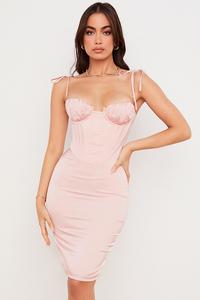 Alma Blush Pink Satin Corset Midi Dress