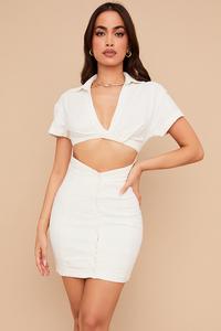 Bailey White Twist Front Cutout Shirt Mini Dress