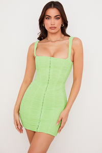 Cate Lime Ruched Mesh Mini Dress