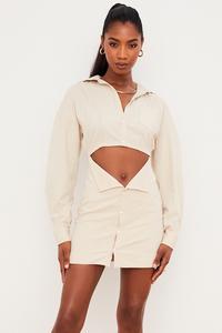 Julietta Beige Linen Cutout Shirt Dress