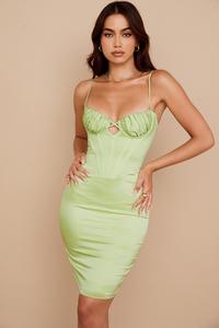 Nathalia Pistachio Satin Midi Dress