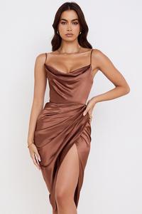 Reva Toffee Satin Balcony Corset Dress