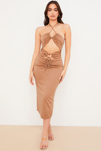 Kasia Caramel Cutout Midi Dress