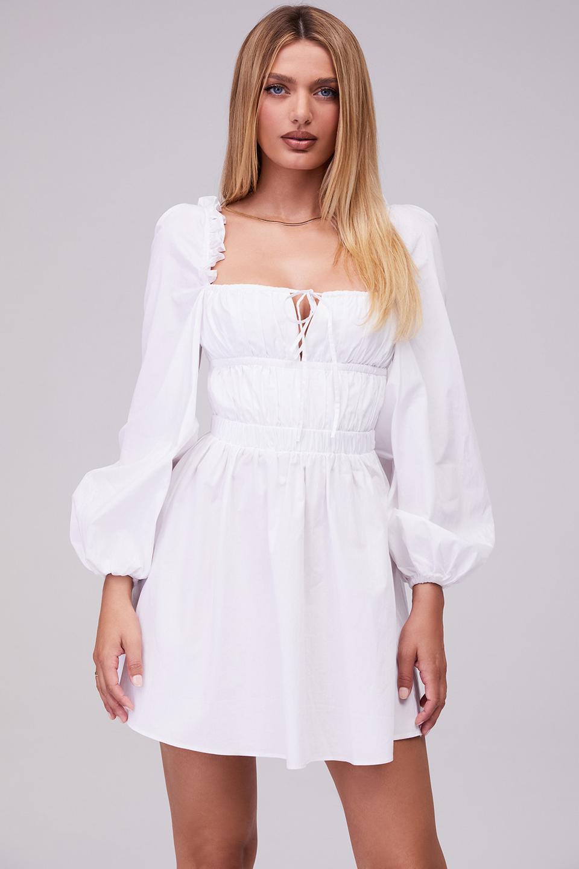 Hazy White Gathered Open Back Mini Dress