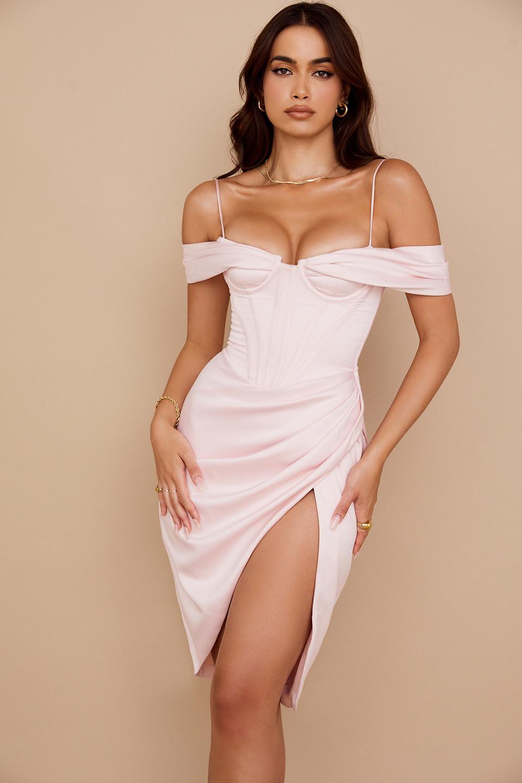 Camila Blush Off Shoulder Corset Dress