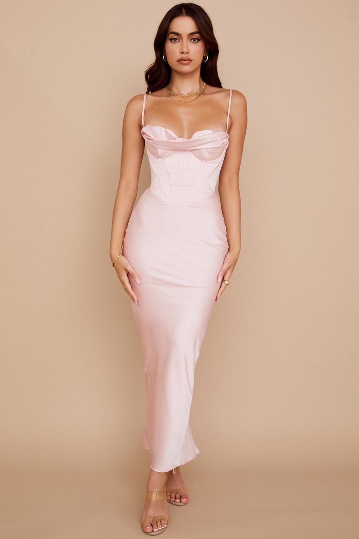 Charmaine Blush Pink Corset Maxi Dress