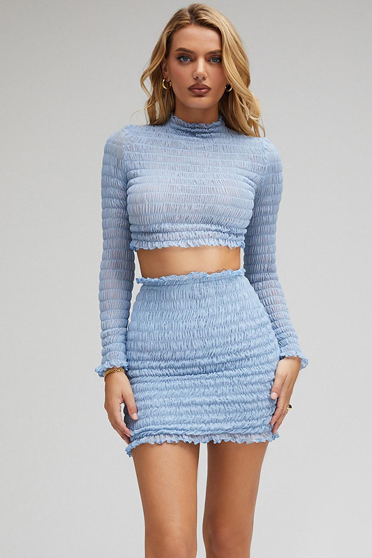 Smiles Powder Blue Shirred Mini Skirt