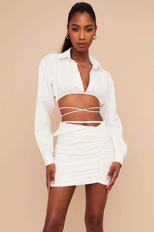 Emmy Off White Folded Waist Mini Skirt