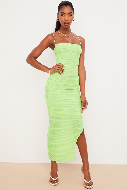 Fornarina Lime Organza Mesh Maxi Dress