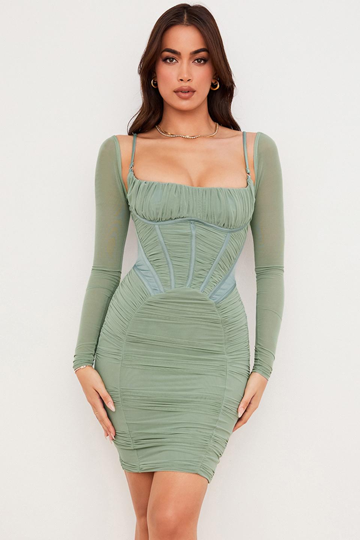 Freyja Green Gathered Corset Midi Dress