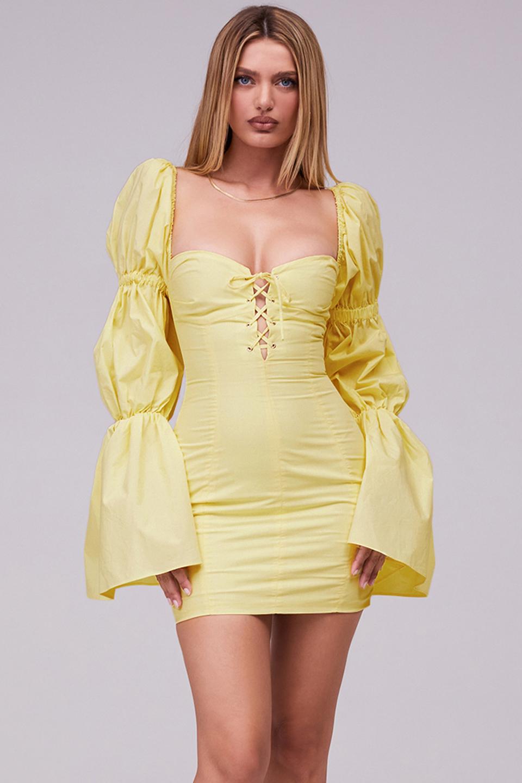 Heartbeat Lemon Lace Up Puff Sleeve Mini Dress