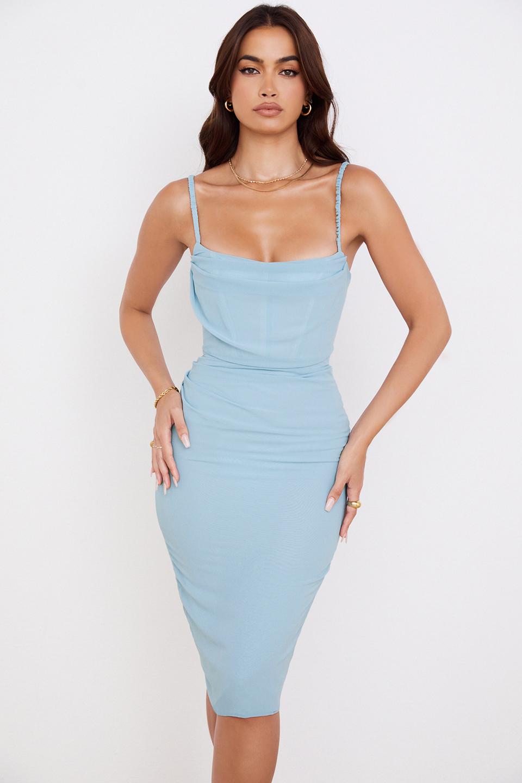 Jamille Baby Blue Draped Corset Midi Dress