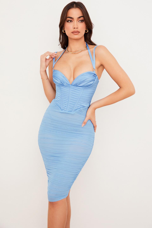 Josephine Baby Blue Pleated Corset Midi Dress