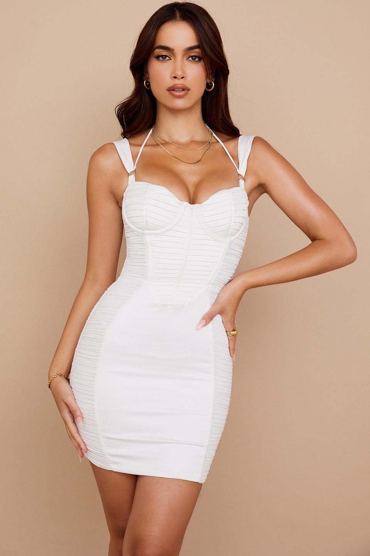 Lucinda White Ruched Corset Mini Dress