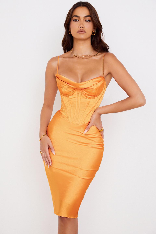 Myrna Tangerine Satin Corset Midi Dress