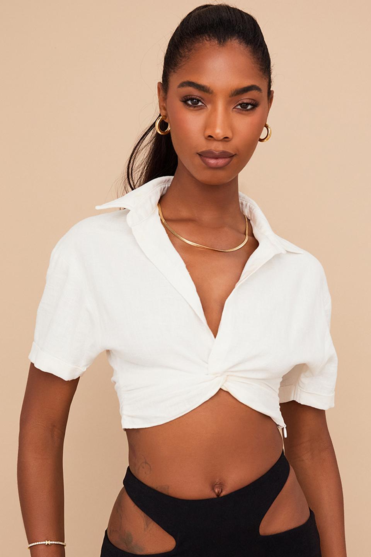 Remi White Twist Front Crop Shirt