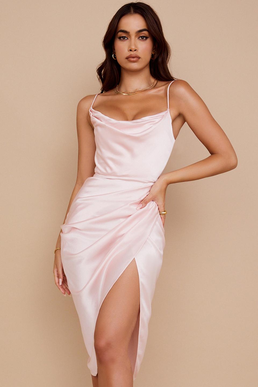 Reva Blush Satin Balcony Corset Dress
