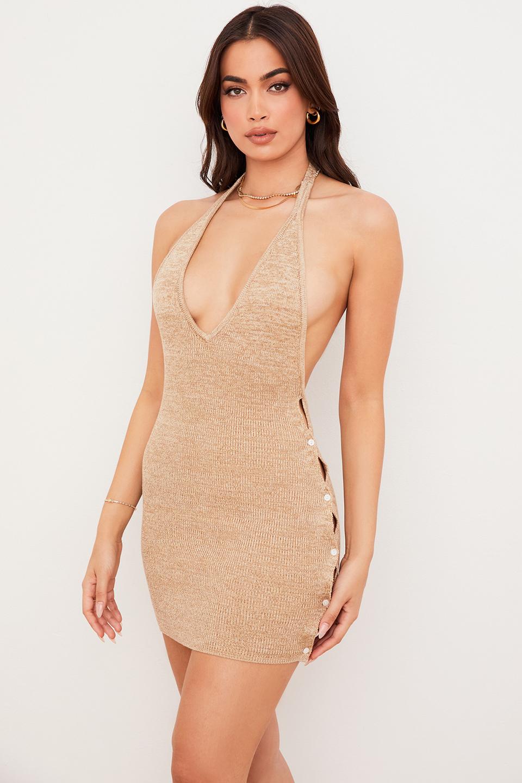 Milla Wheat Marl Rib Knit Halter Mini Dress