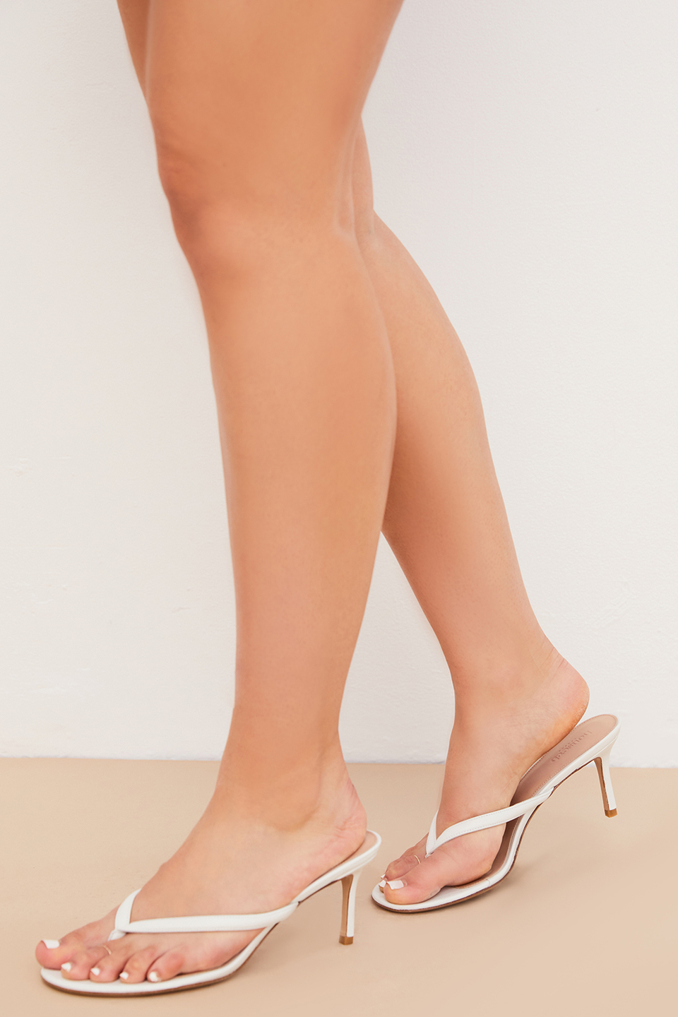 Lola White Leather Mid Heel Thong Sandals