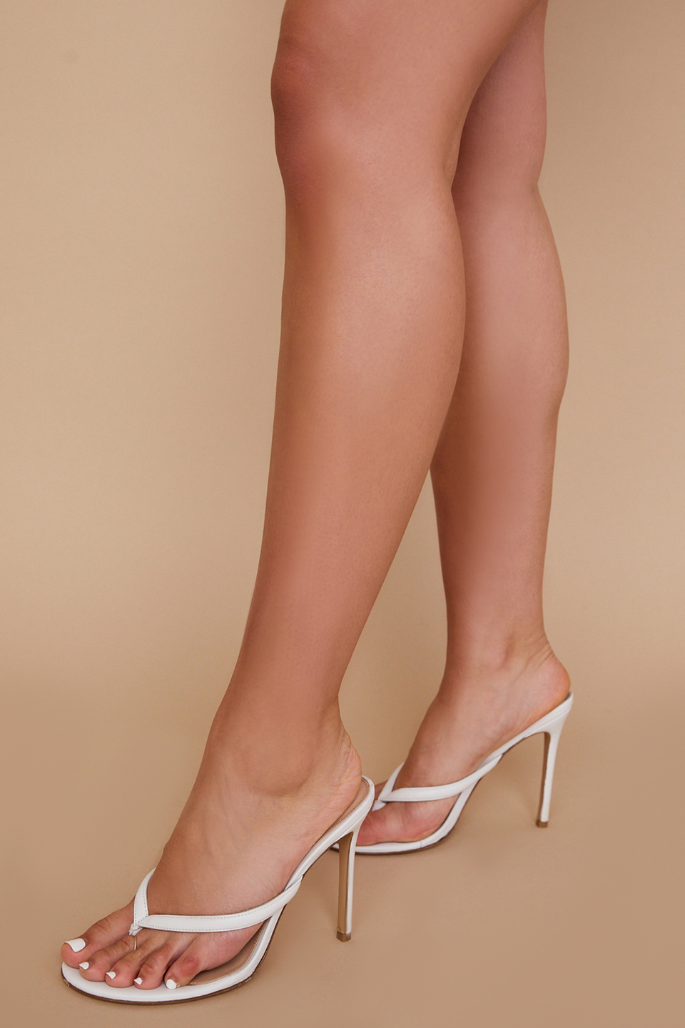 Lola White Leather High Heel Thong Sandals
