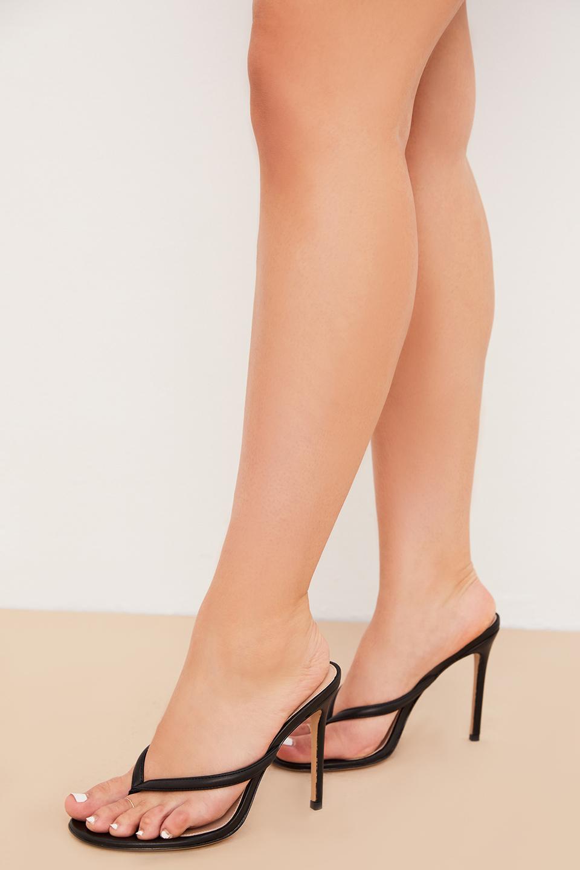 Lola Black Leather High Heel Thong Sandals
