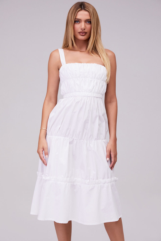 Soiree White Tiered Gathered Maxi Dress