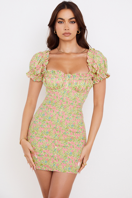 Tanaya Vintage Floral Puff Sleeve Mini Dress