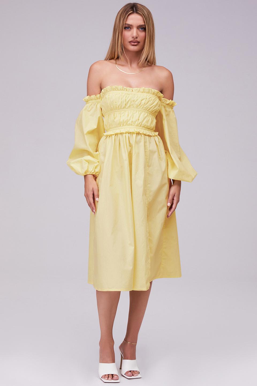 Whimsical Lemon Off Shoulder Puff Sleeve Midi Dress