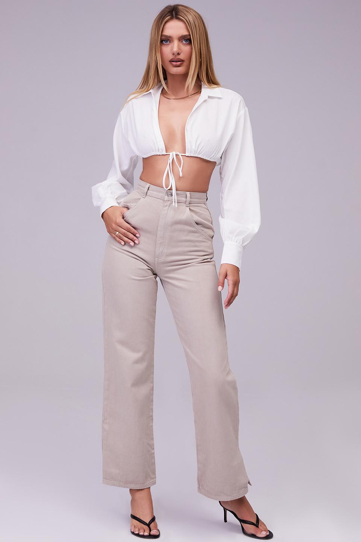 Twist Taupe High Waist Straight Cut Jeans
