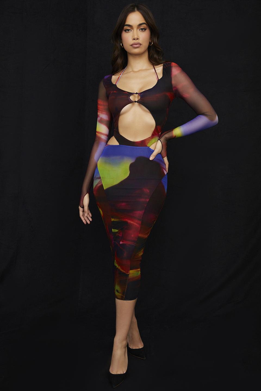 Marina Printed Cut Out Midi Dress