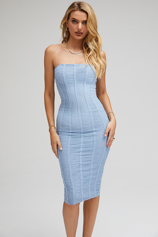 All That Powder Blue Strapless Ruched Midi Dress