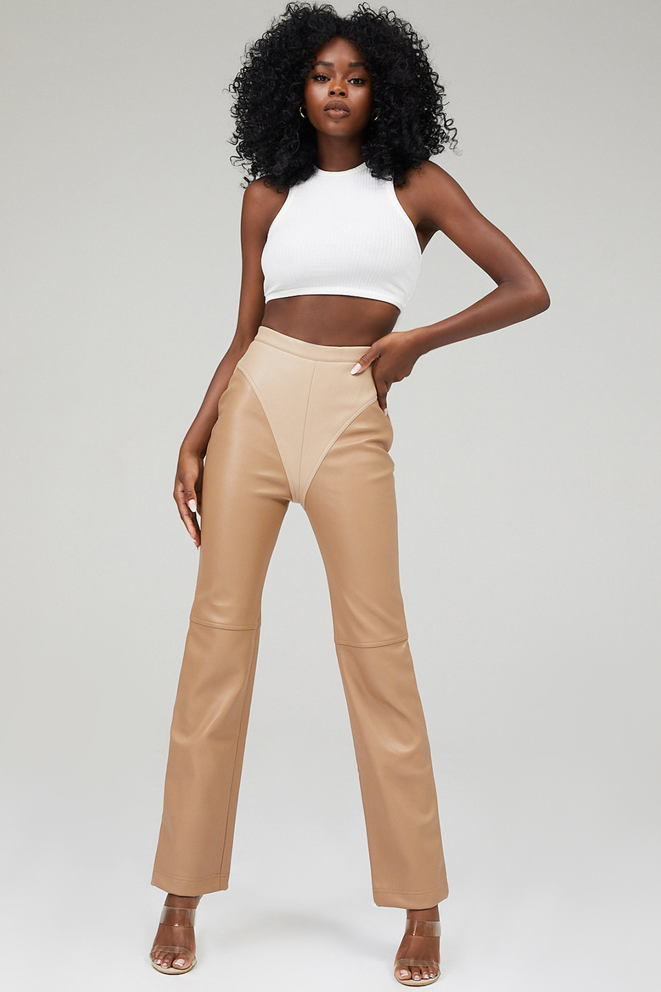 Alpha Coffee And Creme Vegan Leather Panelled Trousers