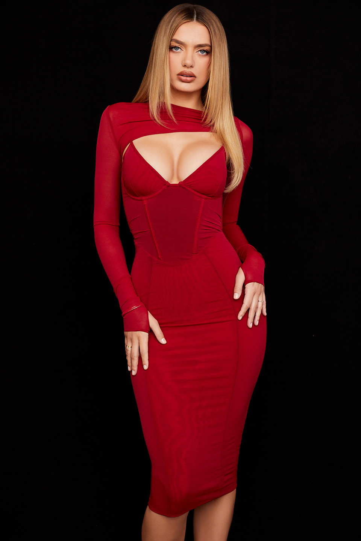 Beatrice Wine Corset Maxi Dress