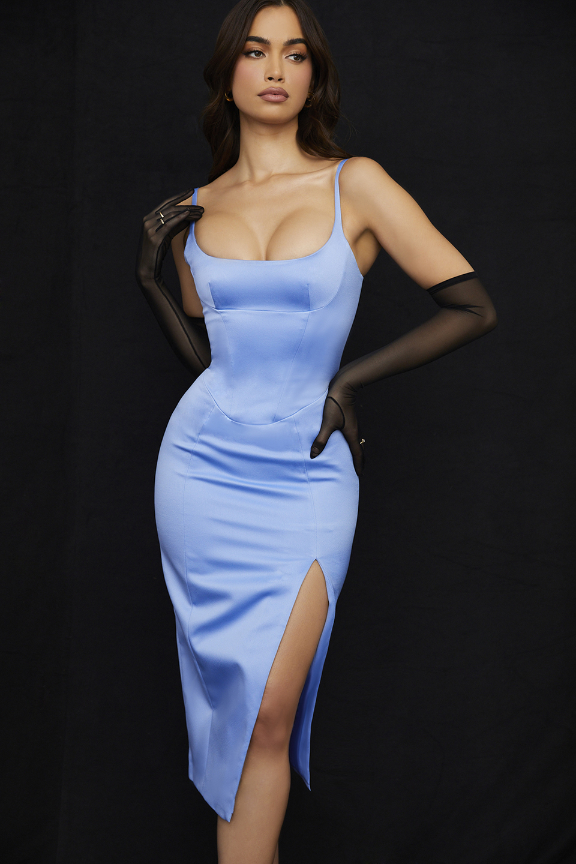 Casimira Cornflower Blue Satin Corset Midi Dress