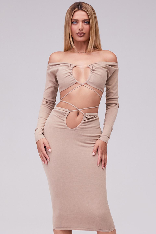 Evolve Oatmeal Knit Cutout Midi Skirt