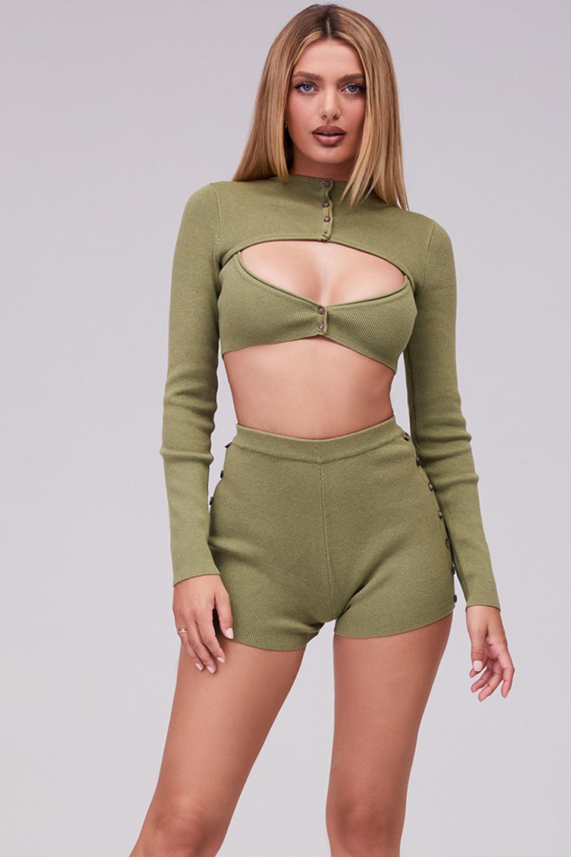 Vitality Olive Knit High Waisted Shorts