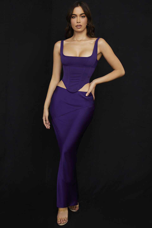 Colette Grape Satin Low Waist Midi Skirt