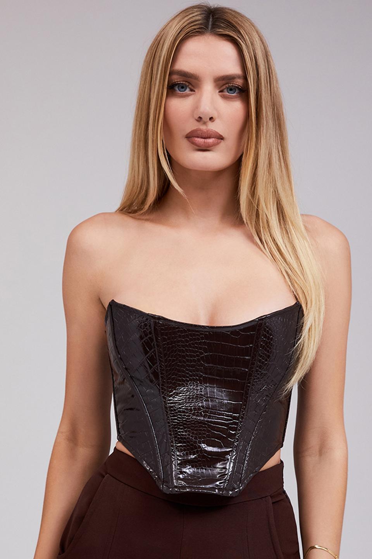 Duchess Dark Brown Vegan Leather Strapless Bustier
