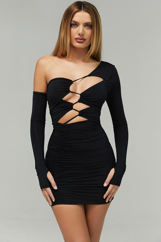 Flame Black Jersey Asymmetric Cutout Mini Dress