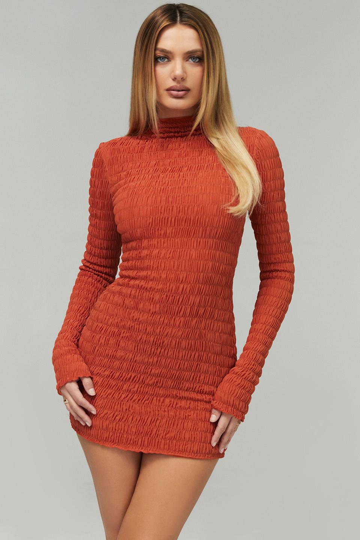 Graceful Burnt Orange Shirred Mock Neck Mini Dress