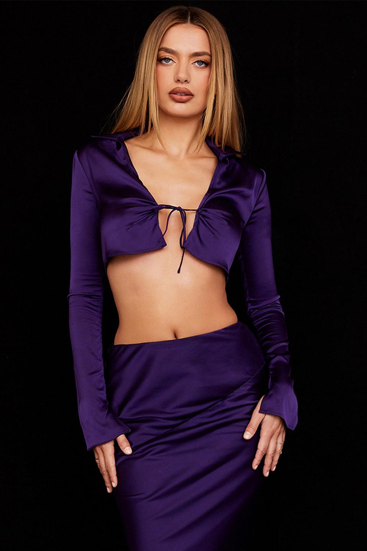 Lavender Grape Satin Cropped Cardigan