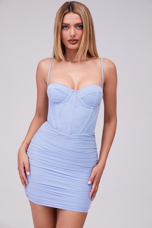 Magical Powder Blue Mesh Corset Mini Dress