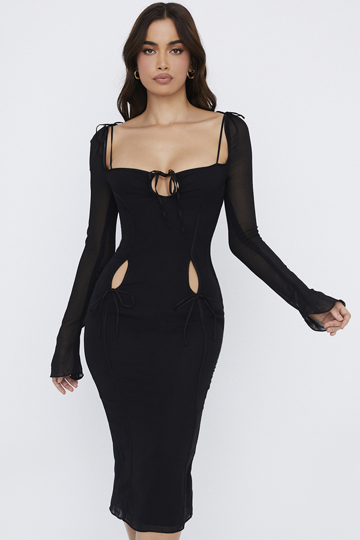 Ophelia Black Cutout Midi Dress