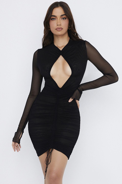 Rose Black Mesh Cutout Mini Dress