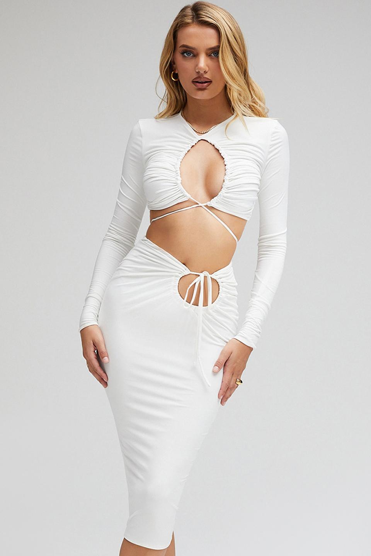 Venus White Jersey Cutout Midi Skirt